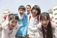 Smile of elementary school children four and women teachers Stock photo [2349021] Five
