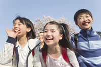3 people smile of elementary school students Stock photo [2349220] Flower