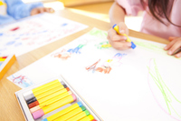 Hand of kindergarten girls draw with crayons Stock photo [2349973] Body