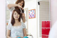 Women get combed hair hairdresser Stock photo [2350165] People