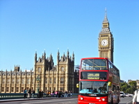 Big Ben Westminster intersection of star temple and double-decker buses in London symbol stock photo