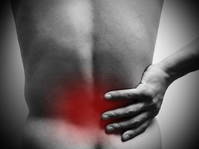 State that rely on hand in pain affected area of the hip (enlarge) Stock photo [2355879] Low