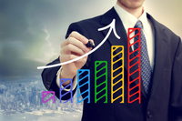 Businessman and colorful graph Stock photo [2477253] Businessman