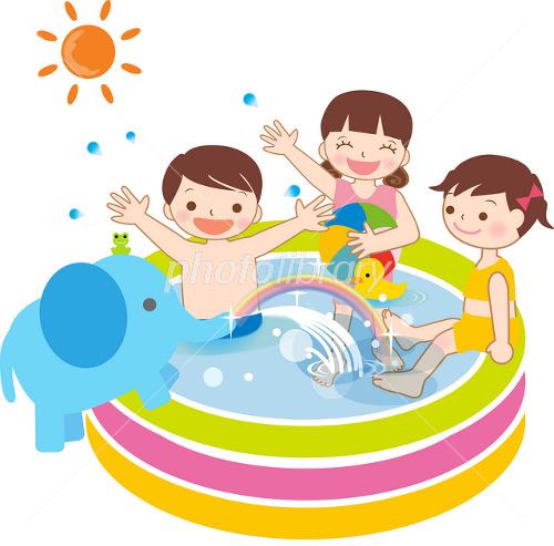 夏ビニールプールで水遊びをする子供たち イラスト素材 2603348
