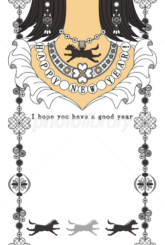 Horse year New Year's card Silver accessories HAPPYNEWYEAR イラスト素材