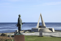 Monument and Mamiya Rinzō bronze statue of the land of Japan's northernmost Stock photo [2599875] Hokkaido