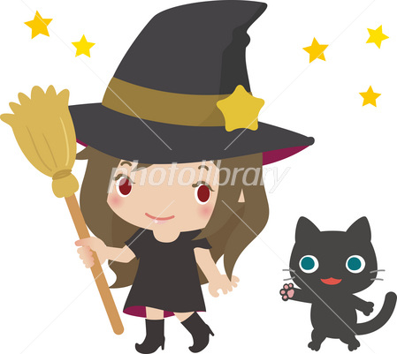 かわいい魔女と黒猫 イラスト素材 2694621 フォトライブラリー