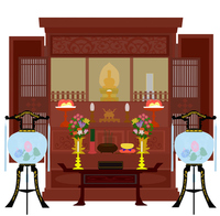 Altar and lanterns [2944300] Buddhist