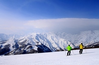 Two skiers overlooking the Northern Alps Stock photo [2945690] Northern