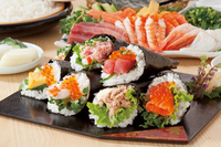 Hand-rolled sushi stock photo