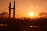 裾花川の夕焼け