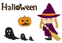Halloween illustration witch pumpkin ghost [3320519] Halloween