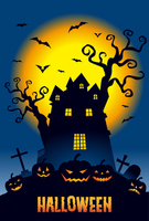 Halloween moonlit night of pumpkin and Haunted Mansion [3322902] Halloween