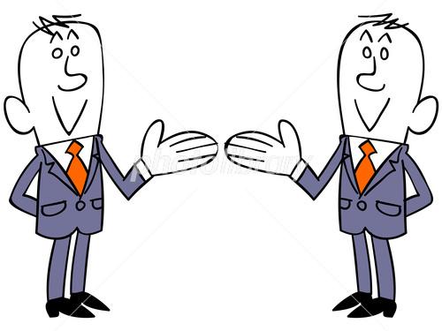 紹介するビジネスマン右向きと左向きのセット イラスト素材 3408594