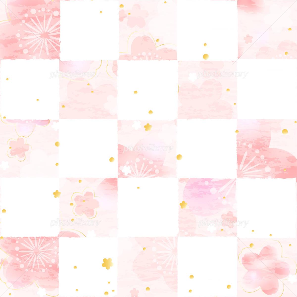 Sakura checkered paper style イラスト素材