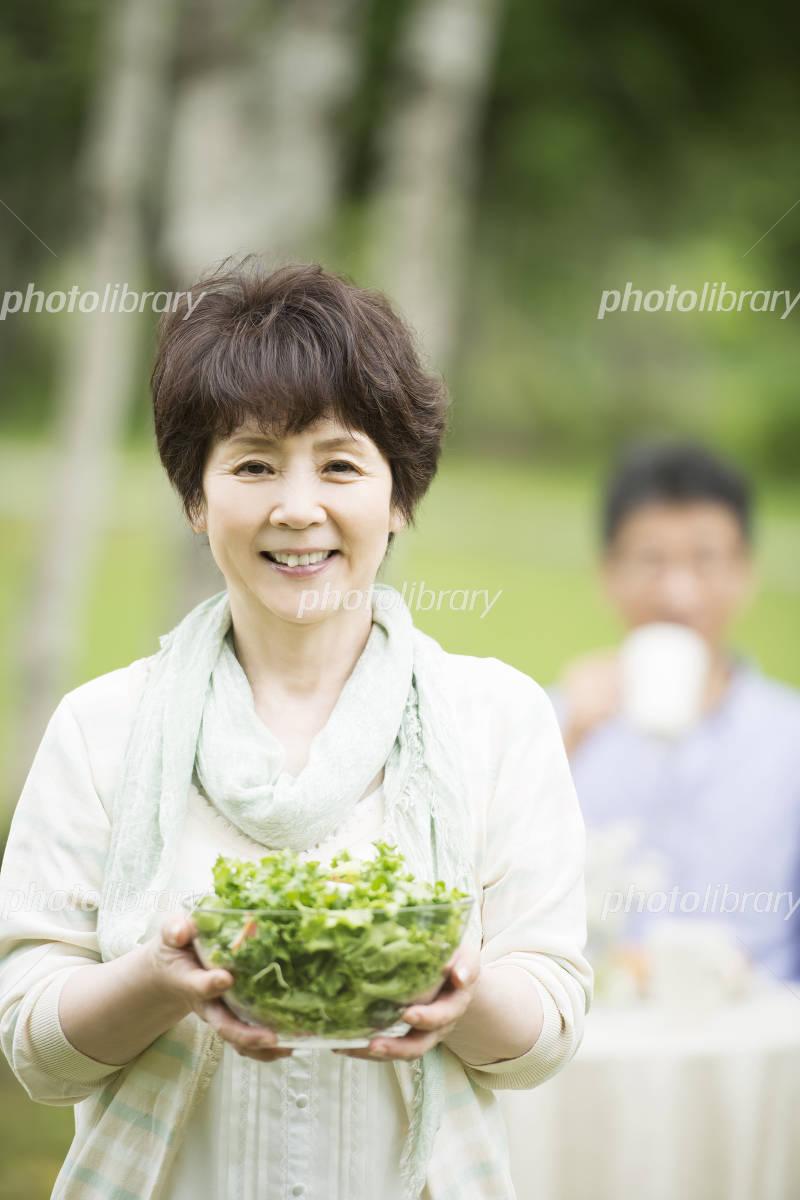 Senior women smile has a salad Photo