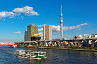 Pleasure boat-Michi潅 and Tokyo Sky Tree in sailing in the Sumida River Stock photo [3508884] Tokyo