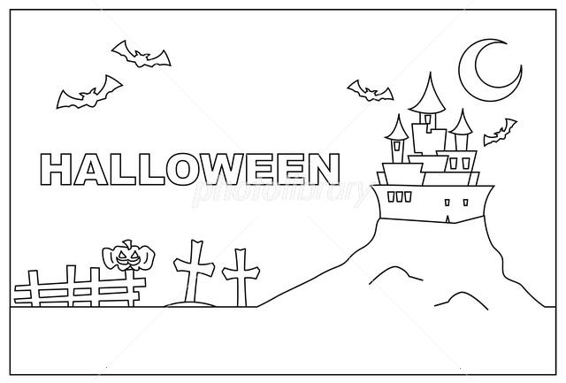 ハロウィン線画ぬりえ イラスト素材 109114 フォトライブ