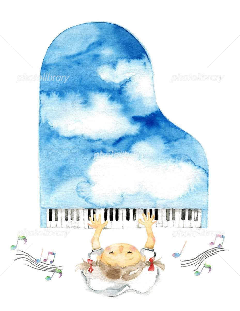 空色ピアノ 女の子と音符 イラスト素材 3829939 フォトライブ