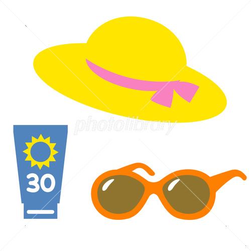 日焼け止め サングラス 帽子 イラスト素材 3831455 フォトライブ