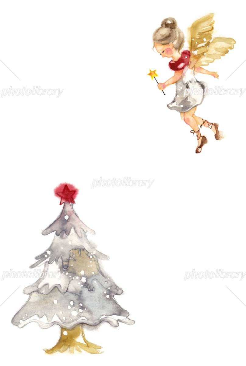 カード 天使とクリスマスツリー イラスト素材 4024523