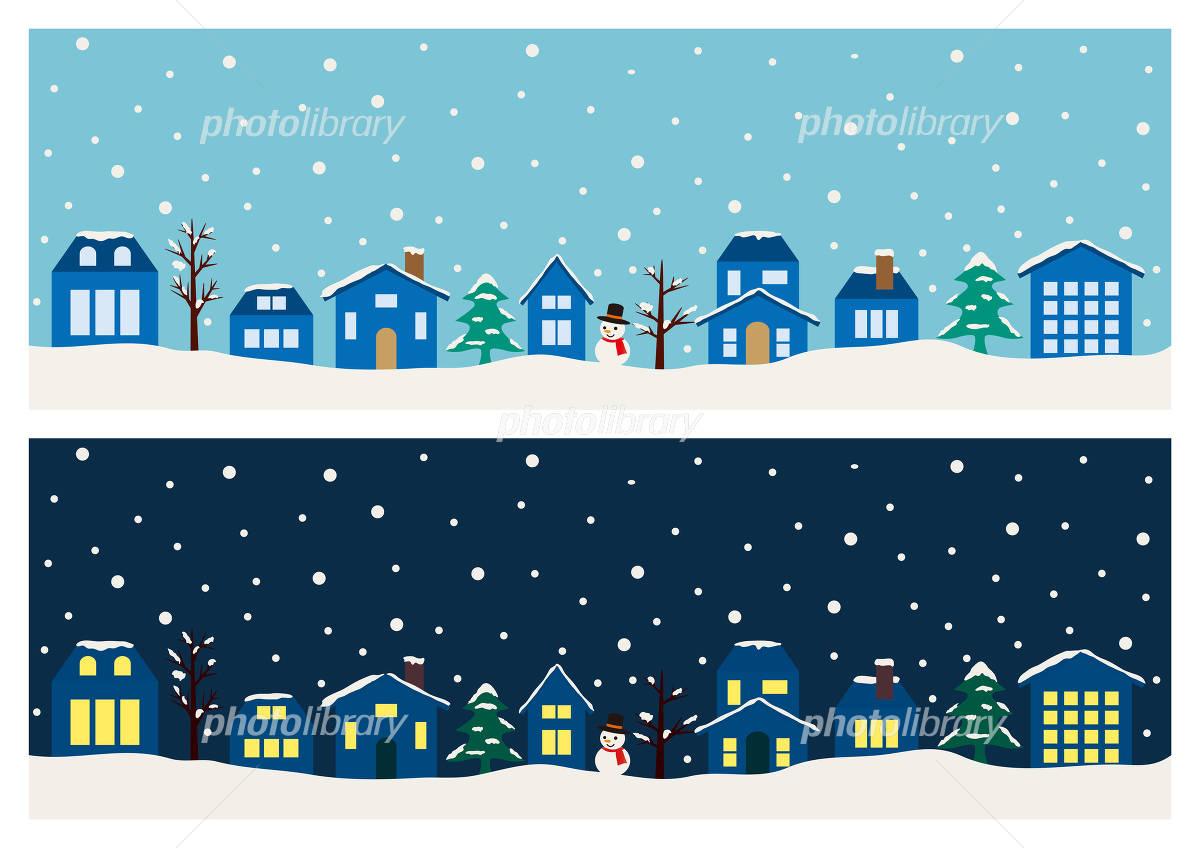 クリスマスの街並みと空 バナー素材セット イラスト素材 4775832