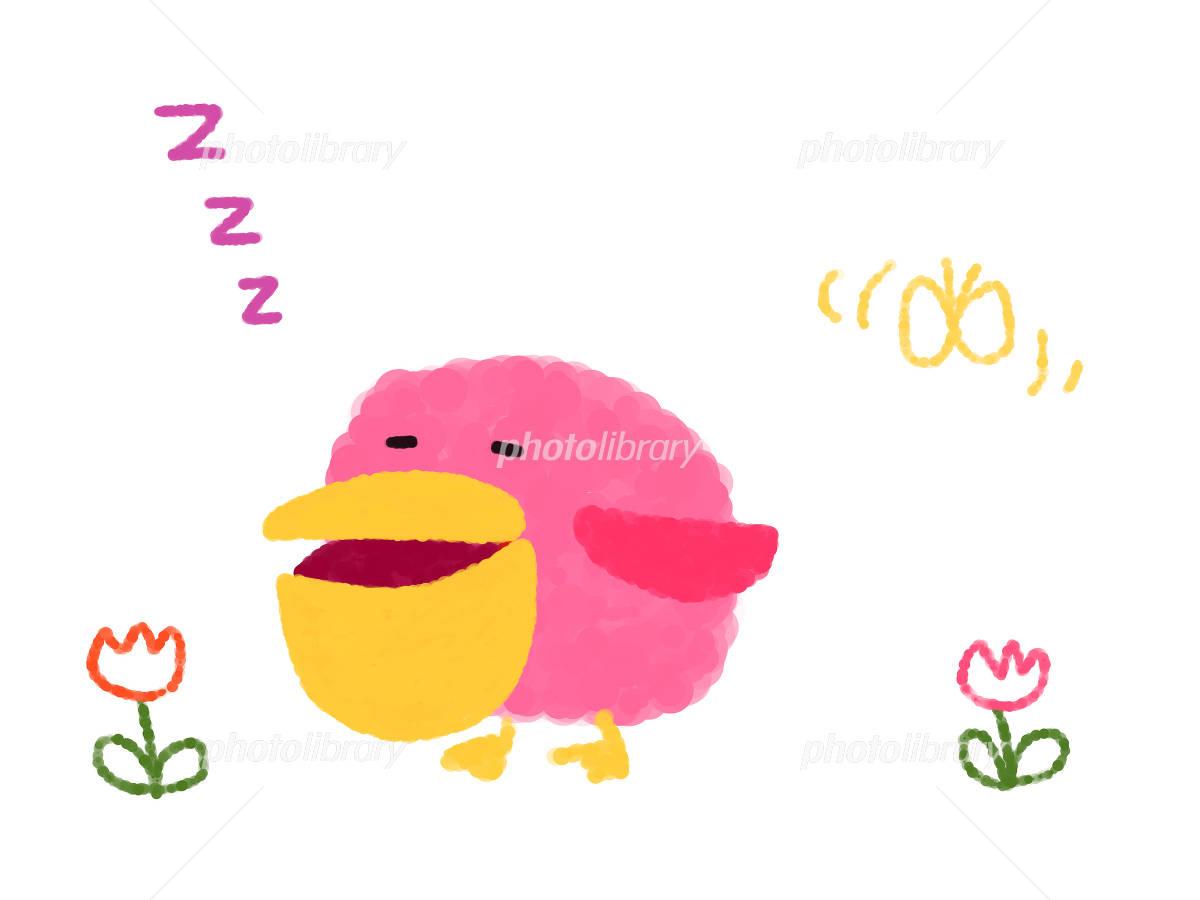 ピンクのペリカン 手書き調 春眠...