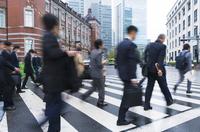 People slow shutter blur toward the Tokyo Marunouchi Tokyo Station morning commute company Stock photo [4777059] Marunouchi