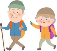 Senior couple climbing a hill-climbing hiking [4780074] Senior