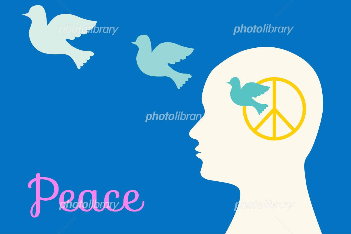 世界平和について考えて鳩が飛び立つ thinking about world peace and