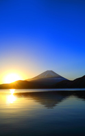 Sun and blue sky Mount Fuji sunrise from Lake Motosu Stock photo [4866956] Fuji