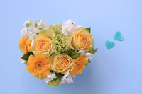 Heart shaped arrangement of yellow roses and gerberas Stock photo [5070002] Father's