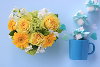 Heart shaped arrangement of yellow roses and gerberas Stock photo [5070010] Father's