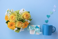 Heart shaped arrangement of yellow roses and gerberas Stock photo [5070013] Father's