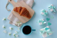 Croissant Coffee Present Sweet Pea Stock photo [5070021] Father's