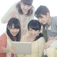 Four women watching Tablet PC Stock photo [5077244] Tablet