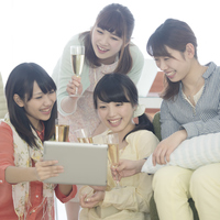 Four women watching Tablet PC Stock photo [5077247] Tablet