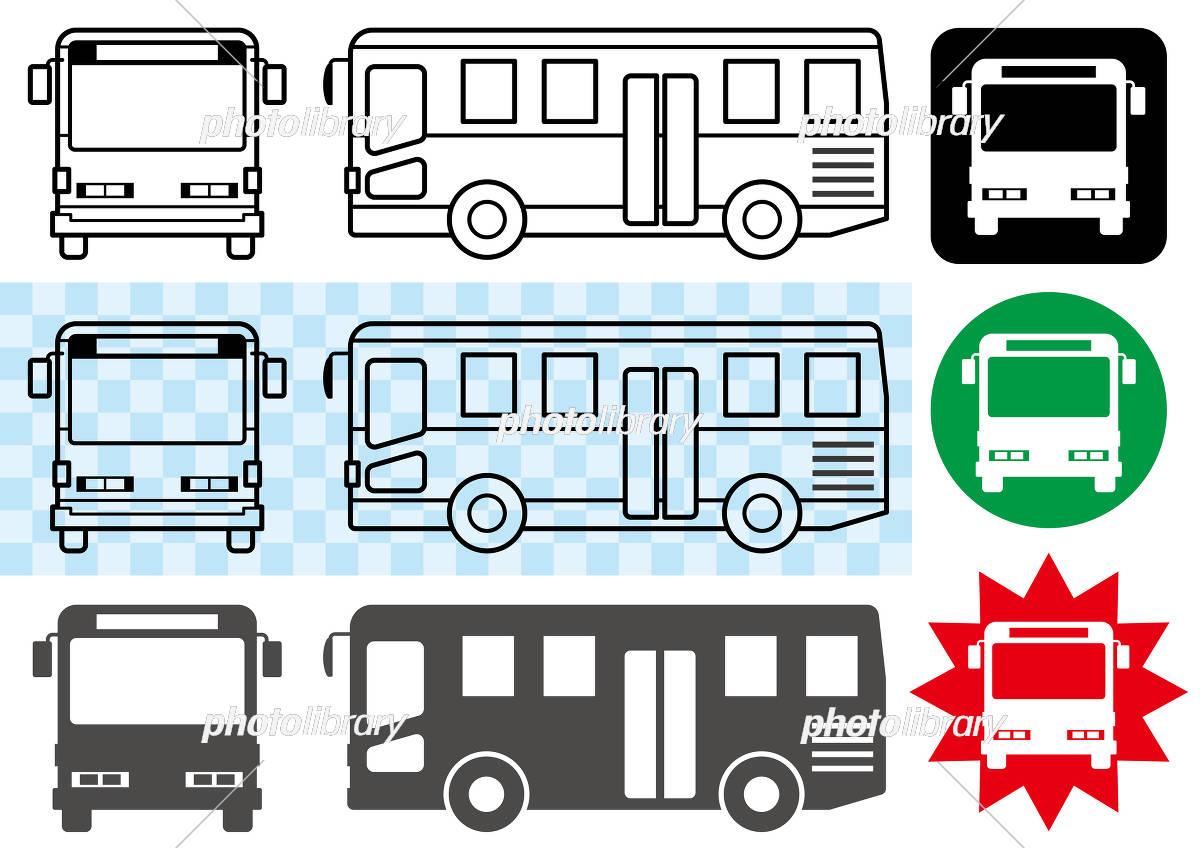 バスの線画とシルエットとシンプルアイコン イラスト素材 [ 5162494