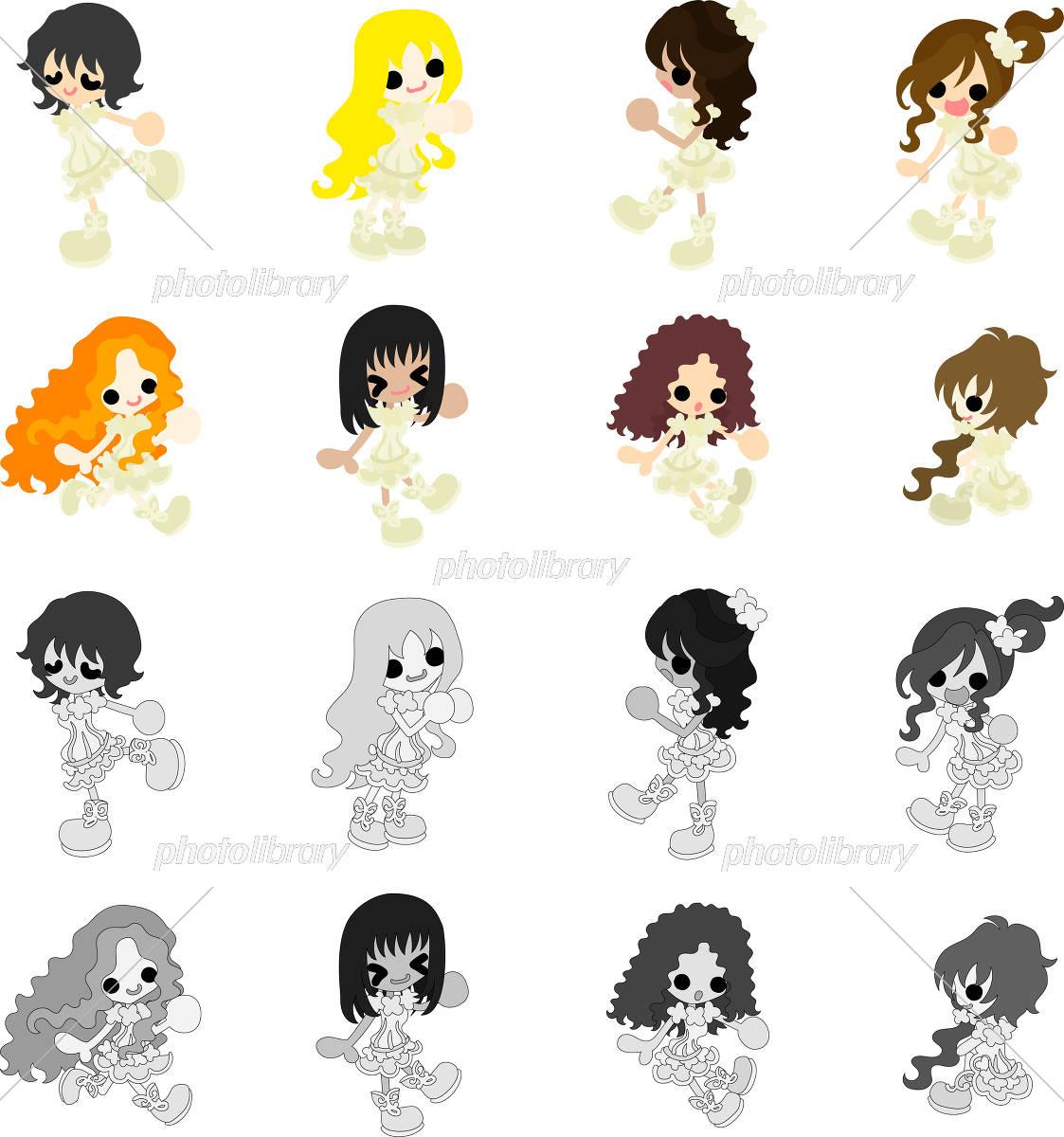 白いドレスの可愛い女の子のアイコン イラスト素材 5165627 フォト
