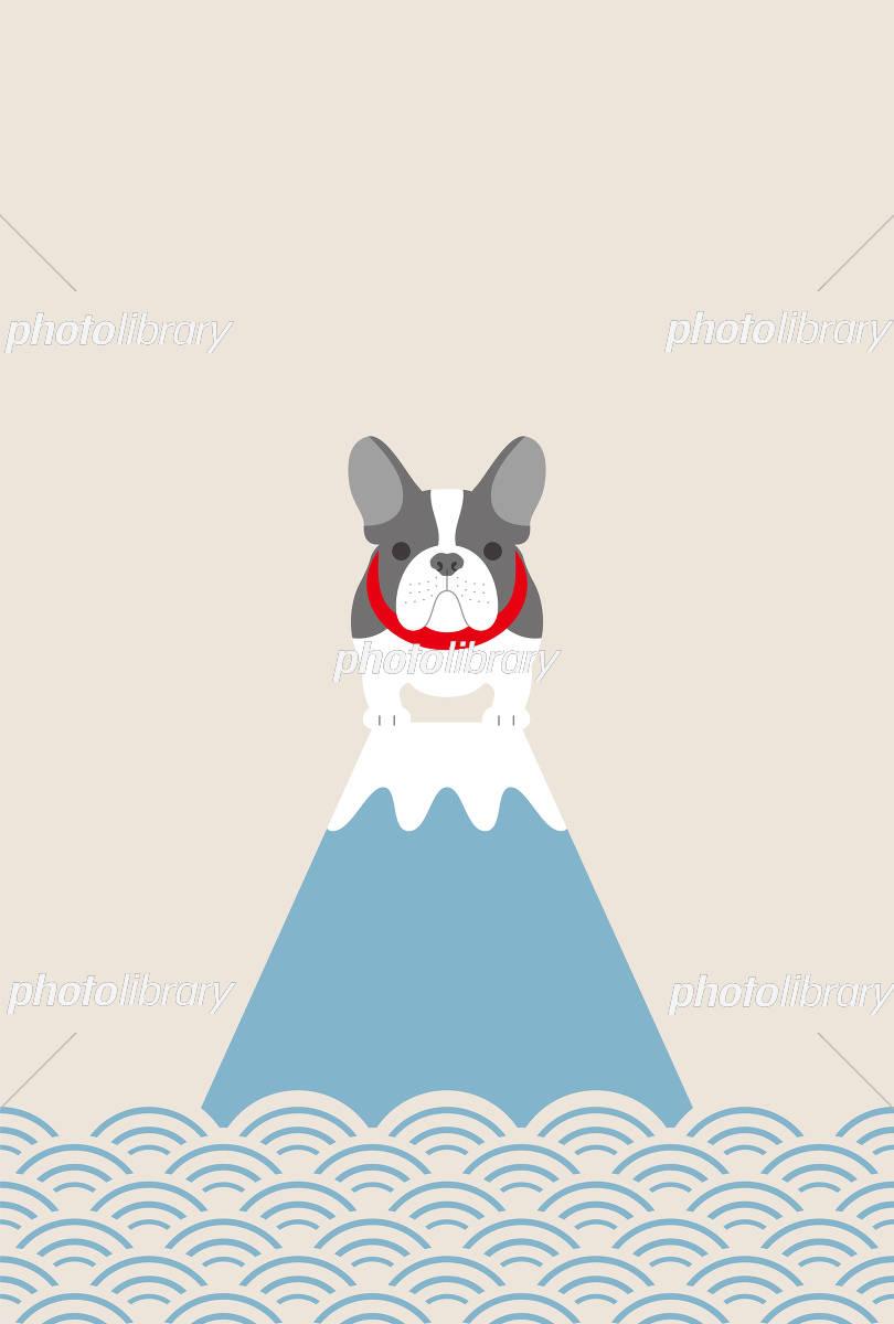 フレンチブルドッグ犬と富士山 イラスト素材 5257615 フォトライブ
