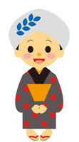 イラスト A woman wearing a hand tow dating back to the Edo period(5258152)