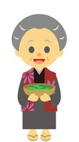 イラスト The old woman holding the basket of the Edo period era(5258155)