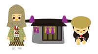 イラスト Edo period era play Samurai man and puppet basket(5258174)