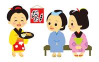 イラスト The daughter of the Edo period era drama tea shop and the customer(5258188)