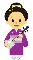 イラスト Geisha dancing the Edo period contemporary drama shamisen(5258197)