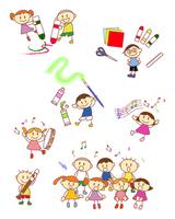イラスト Elementary school students drawing drawings(5259828)