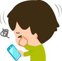 イラスト A boy rubbing his eyes with a smartphone(5261022)