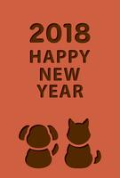 イラスト Dog's New Year's card template for 2018 year old year(5265596)