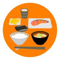 イラスト Japanese breakfast grilled salmon with breakfast(5265834)