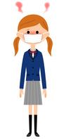 イラスト Female high school student who has a fever(5266344)